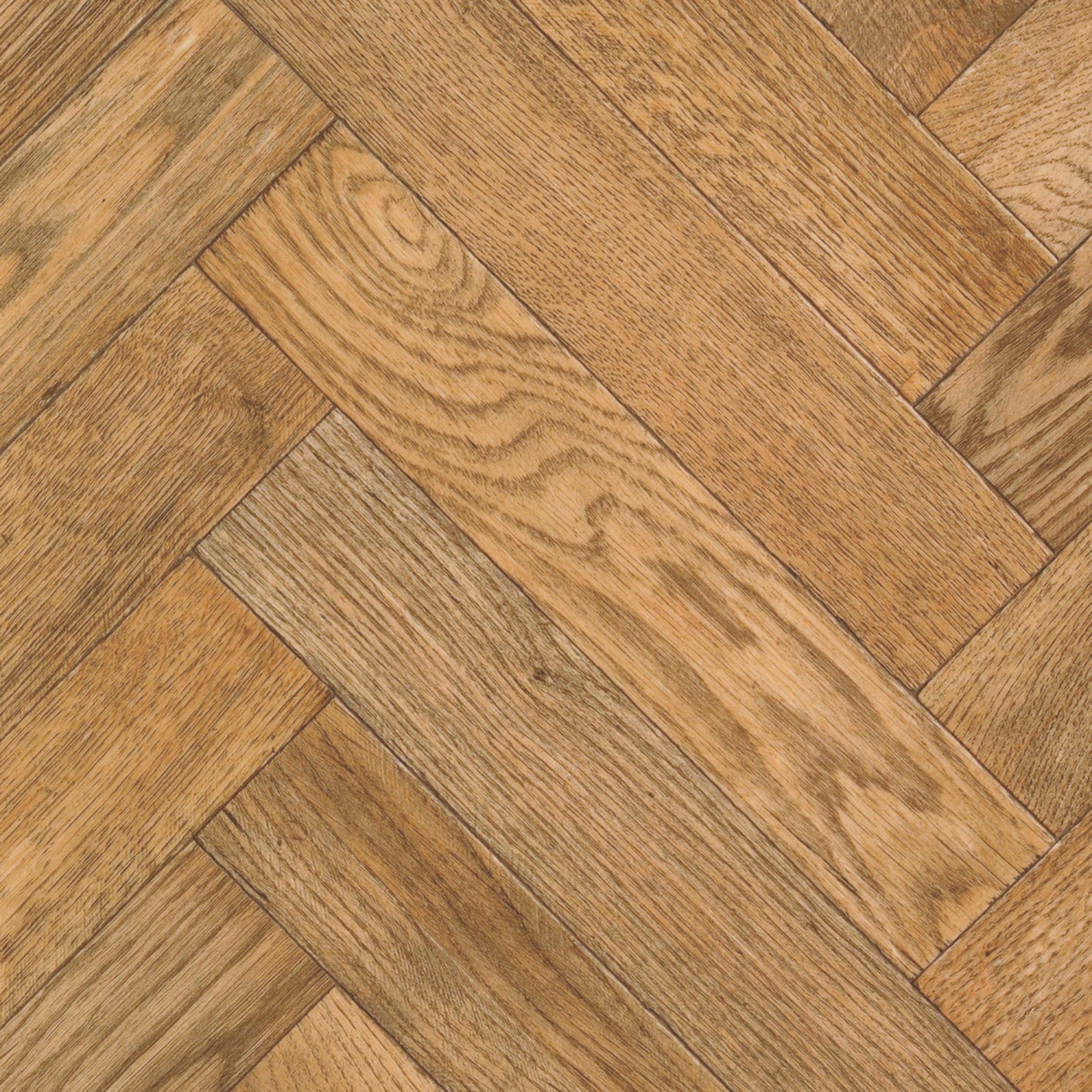 Carillon oak parquet effect vinyl cut to chosen length in for Wood effect vinyl flooring bathroom