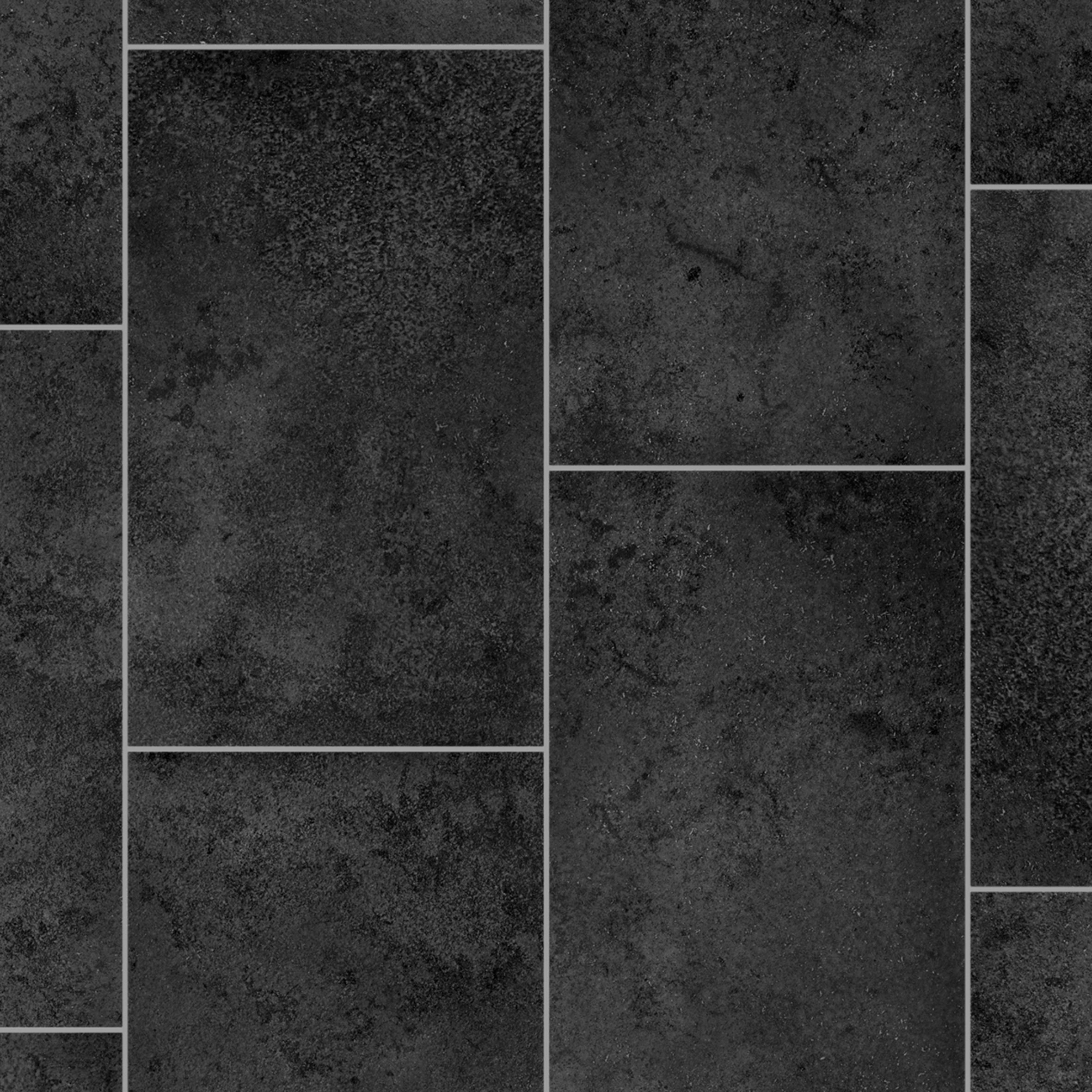 Saluzzo Black Stone Tile Effect Vinyl Cut To Chosen Length In Store