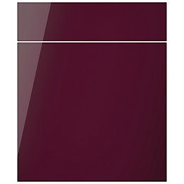 Cooke & Lewis Raffello High Gloss Aubergine Drawerline