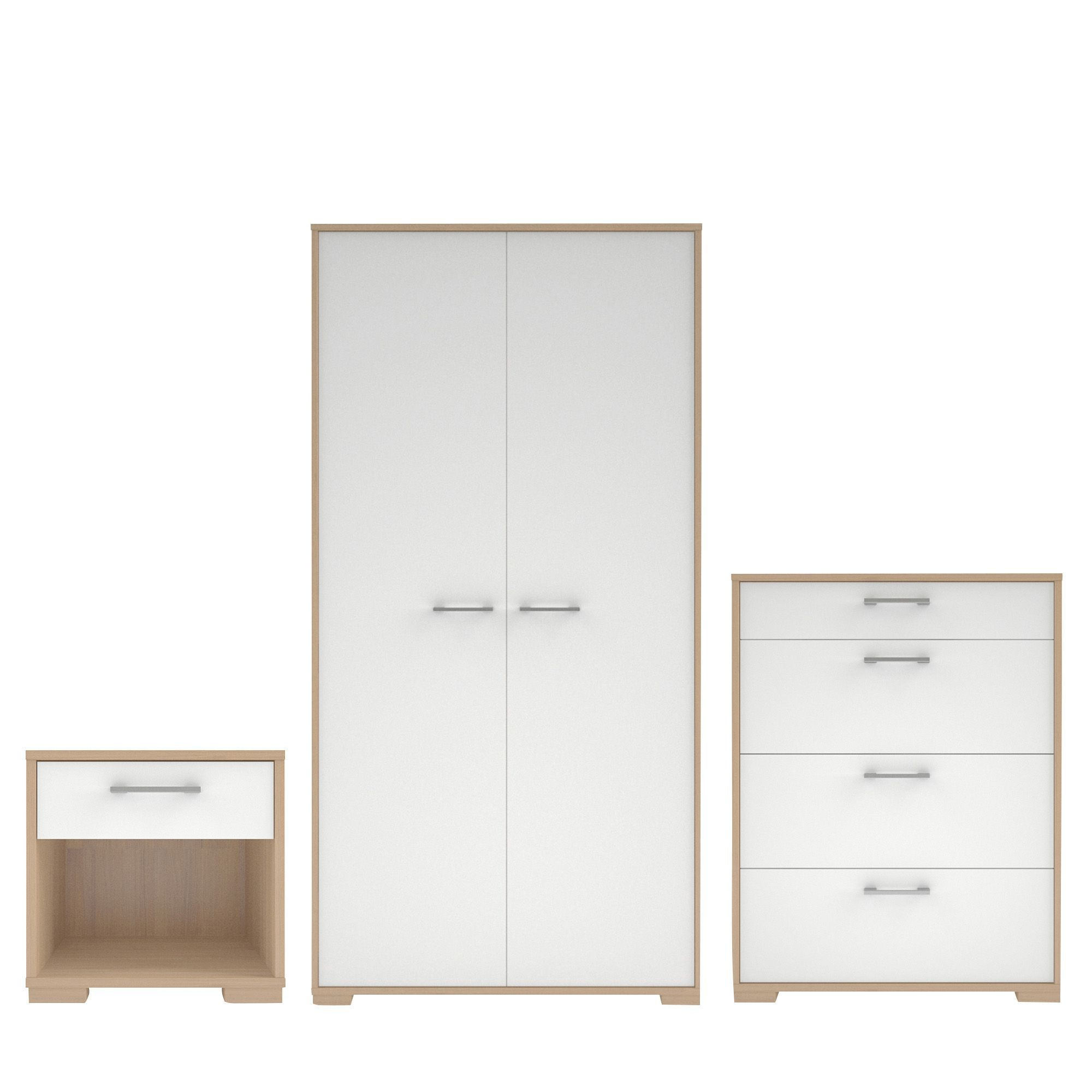 Evie Matt & High Gloss White & Oak Effect 3 Piece Bedroom Furniture Set