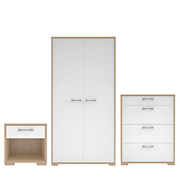 Evie Gloss White & Oak Effect 3 Piece