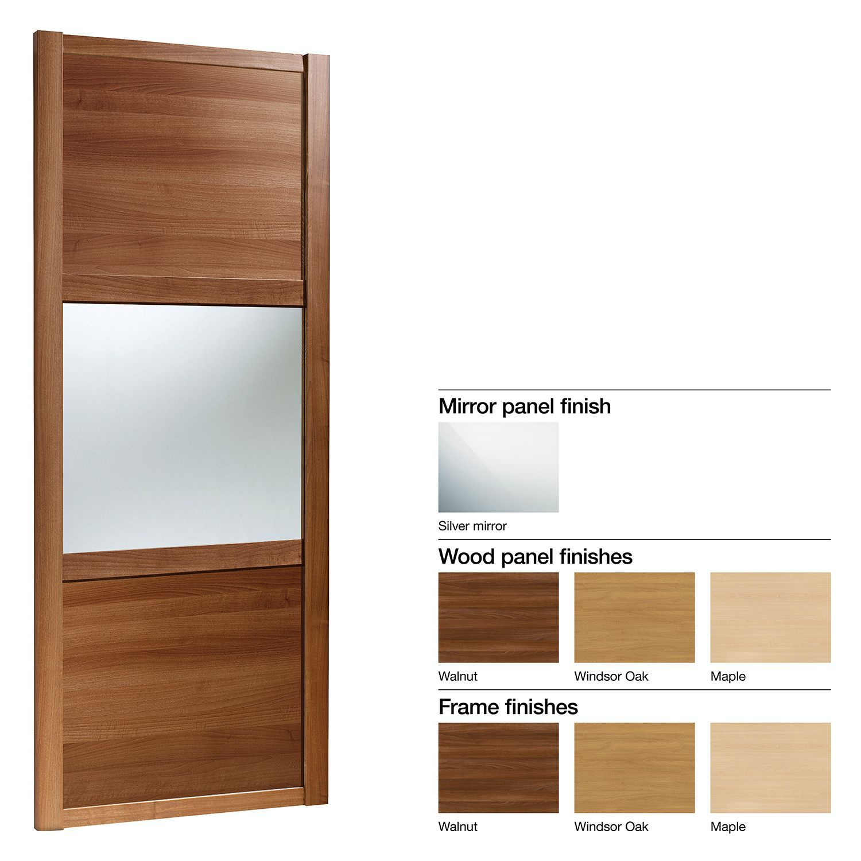 Made To Measure Shaker 3 Panel Wood Effect & Mirror Sliding Wardrobe Door (w)1060-1160mm