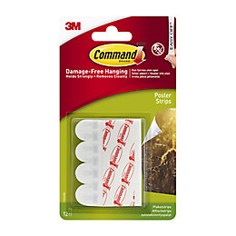 3M Command White Plastic Poster Strips, Pack of