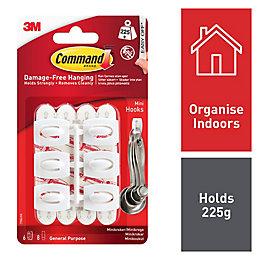 3M Command White Plastic Hooks, Pack of 6