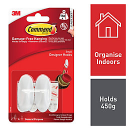 3M Command White Plastic Hooks, Pack of 2
