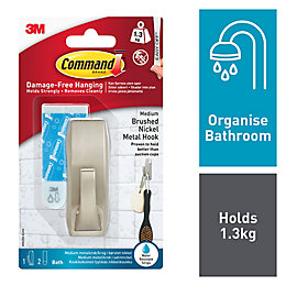 3M Command Satin Nickel Metal Hook