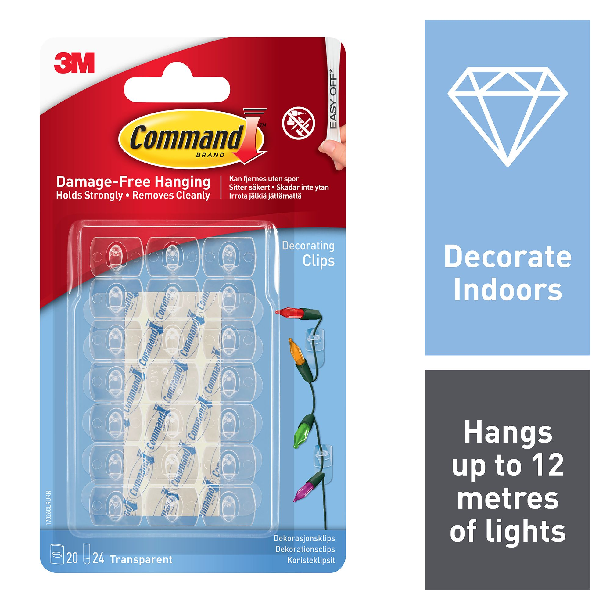 3m command plastic decoration clips pack of 20. Black Bedroom Furniture Sets. Home Design Ideas