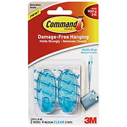 3M Command Blue Plastic Hooks, Pack of 2