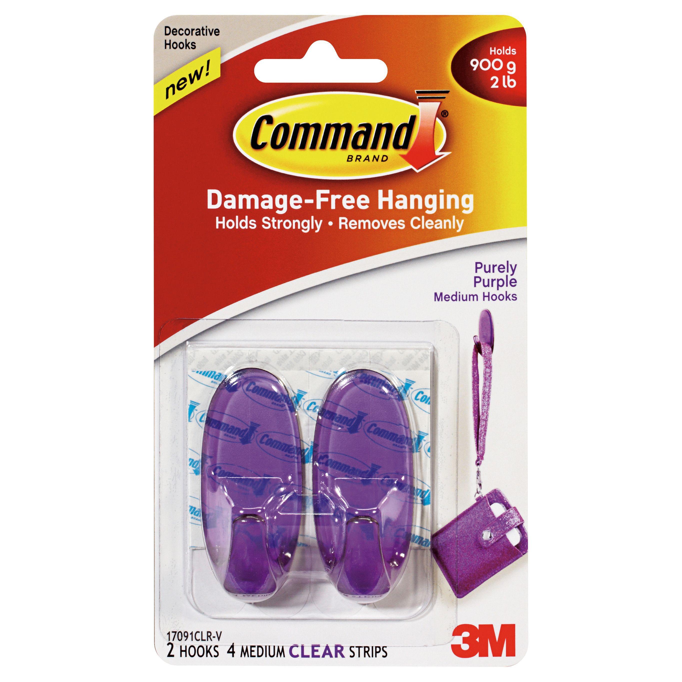 3m command purple plastic hooks pack of 2 departments tradepoint. Black Bedroom Furniture Sets. Home Design Ideas