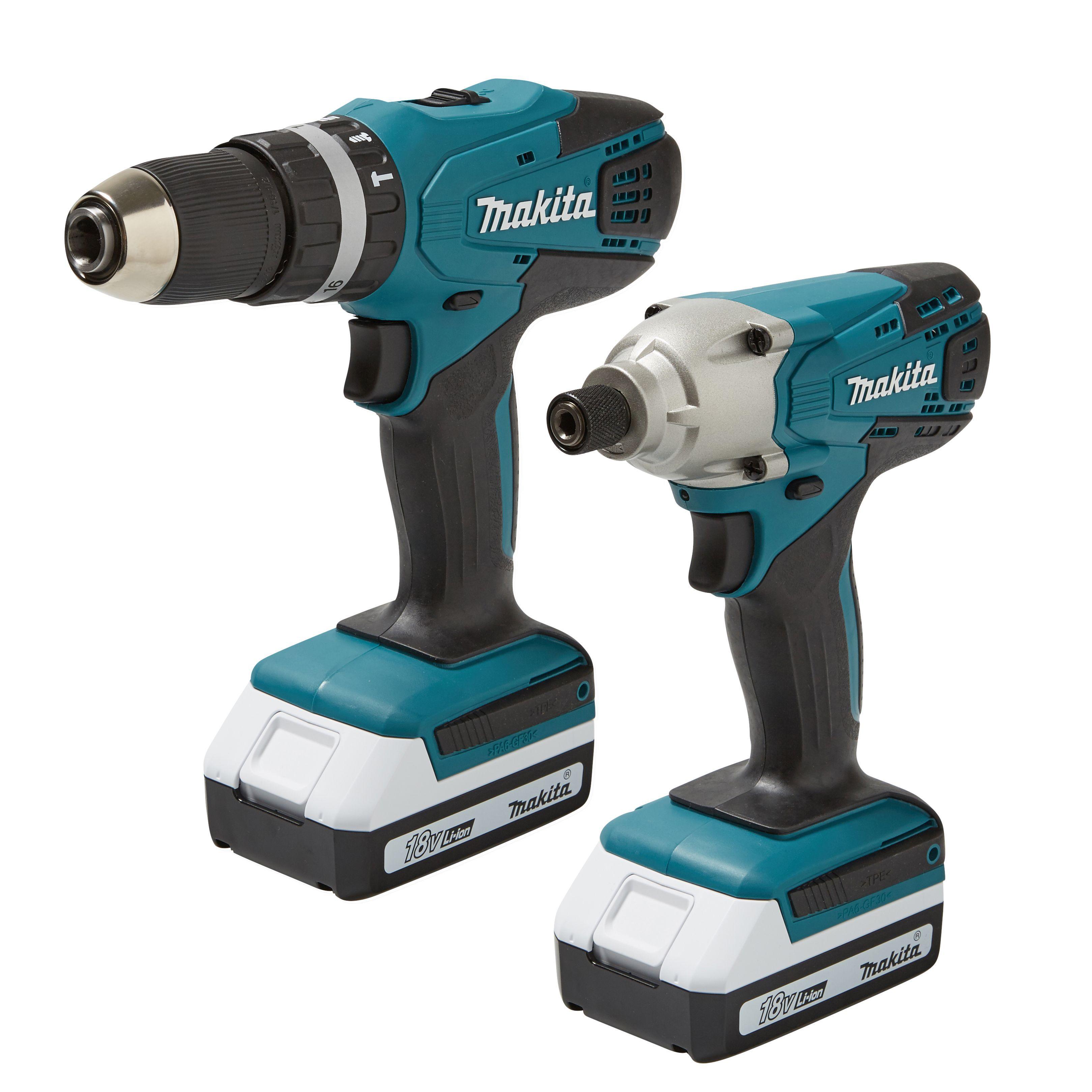 Makita 1.3ah Li-ion Combi Drill & Impact Driver Twin Pack 2 Batteries Dk18015x2