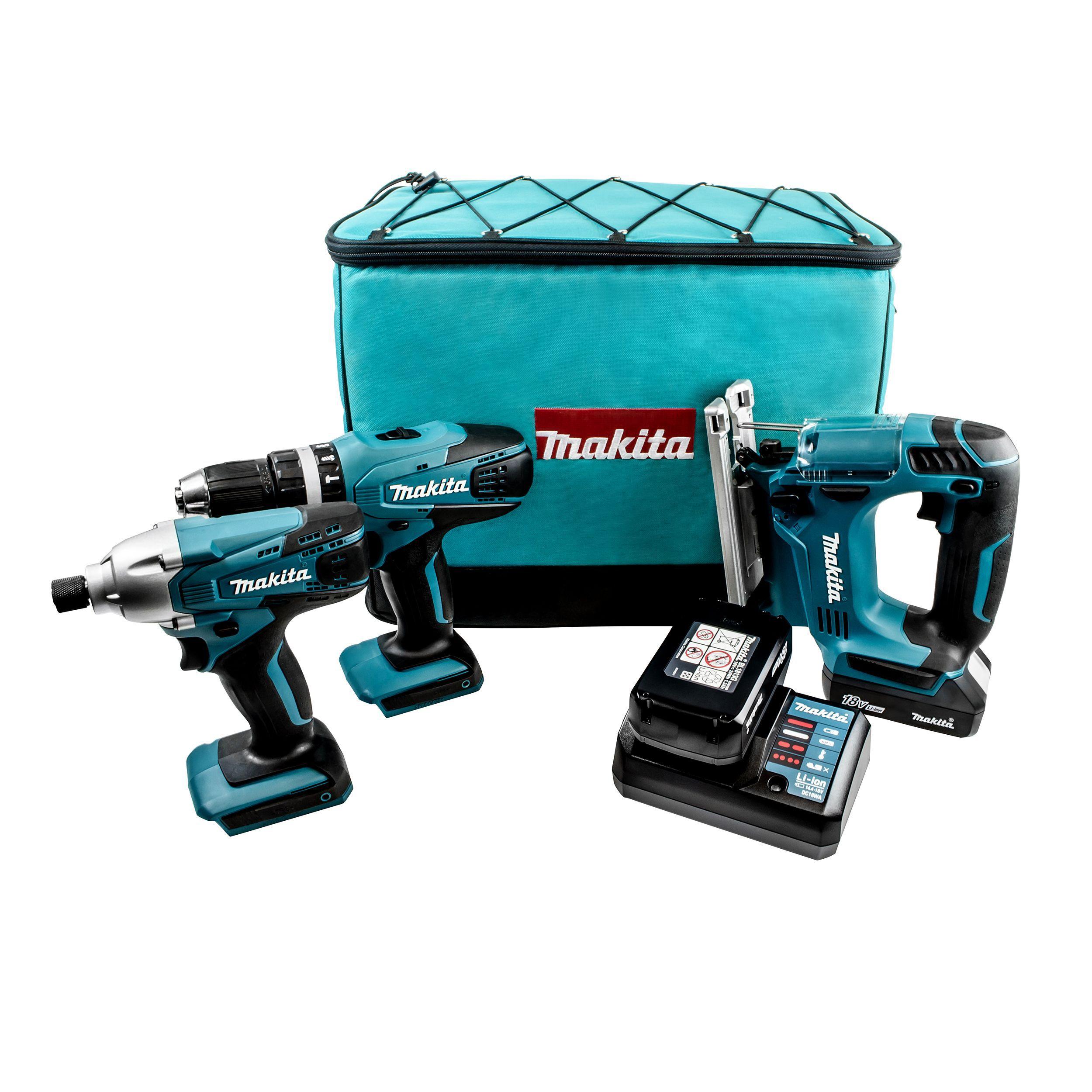 Makita G-series Cordless 18v 1.3ah Piece Power Tool Triple Kit Dk18267