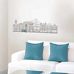 Wallpops Globe Trotter Multicolour Self Adhesive Wall Sticker