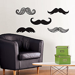 Wallpops Moustache Black Self Adhesive Wall Sticker (H)43cm