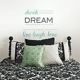 Wallpops Cherish, Dream, Live Multicolour Self Adhesive Wall