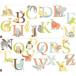 Fun4Walls Alphabet Zoo Multicolour Self Adhesive Wall Sticker