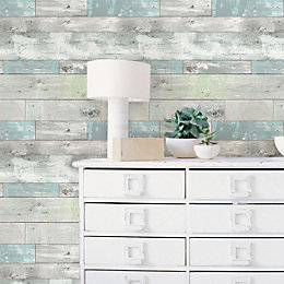 Wallpops Beachwood Grey Peel & Stick Wallpaper (L)5.5m