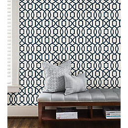 Wallpops Grand Trellis Navy Peel & Stick Wallpaper