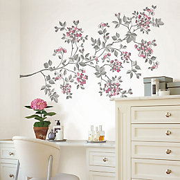 Cherry Blossom Multicolour Self Adhesive Wall Stickers (H)99cm