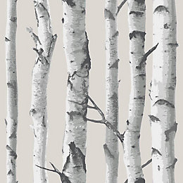 Wallpops Birch Tree Grey Peel & Stick Wallpaper