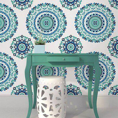 Wallpops Medallion Blue & Green Peel & Stick Wallpaper (l)5500mm (w)520mm