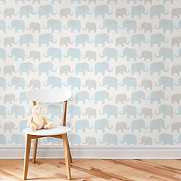 Wallpops Elephant Parade Blue Peel & Stick Wallpaper