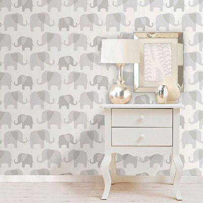 Wallpops Elephant Parade Grey Peel & Stick Wallpaper L 5500mm W