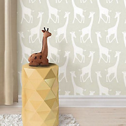 Wallpops Savannah Soiree Giraffe Taupe Peel & Stick