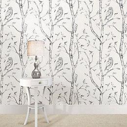 Wallpops Woods Grey Peel & Stick Wallpaper (L)5.5m