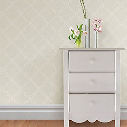 Wallpops Quatrefoil Taupe Peel & Stick Wallpaper (L)5.5m