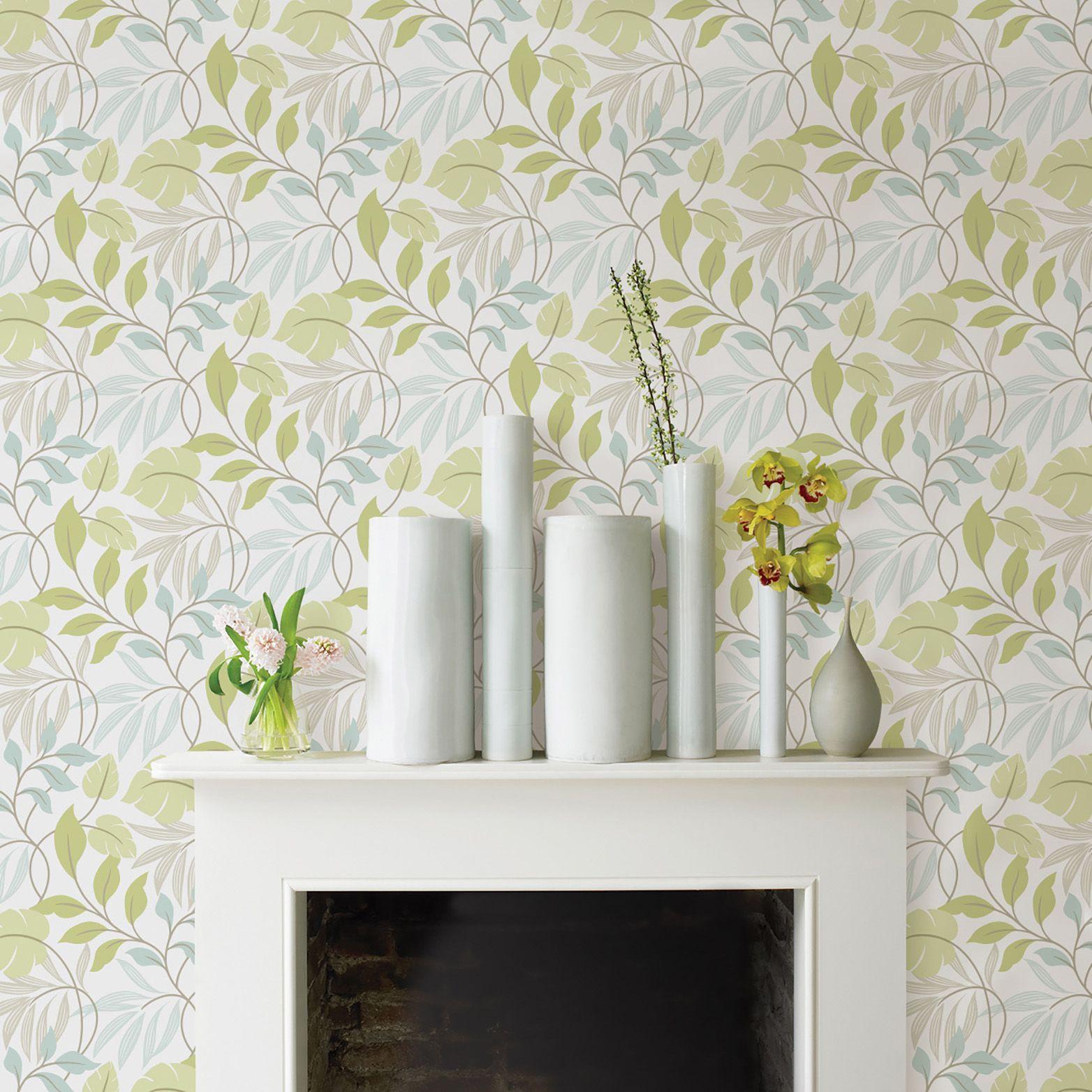 Wallpops Meadow Green & Grey Peel & Stick Wallpaper L 5500mm W