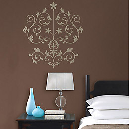 Wallpops Nouveau Damask Gold Self Adhesive Wall Stickers