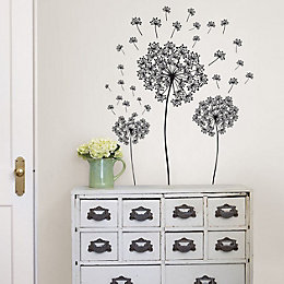 Wallpops Dandelions Black Self Adhesive Wall Sticker (H)610mm
