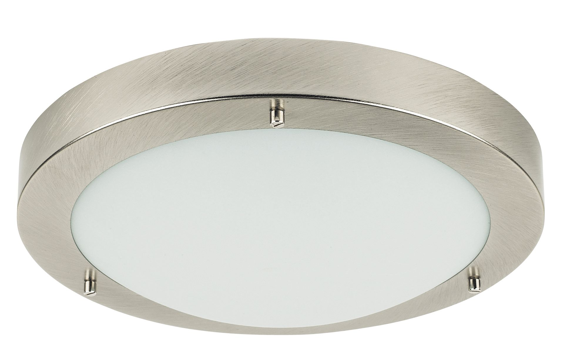 Bathroom ceiling lights b q - Portal Brushed Chrome Effect Bathroom Flush Light Departments Diy At B Q