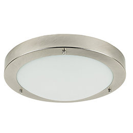 Portal Silver Brushed Chrome Effect Bathroom Flush Light
