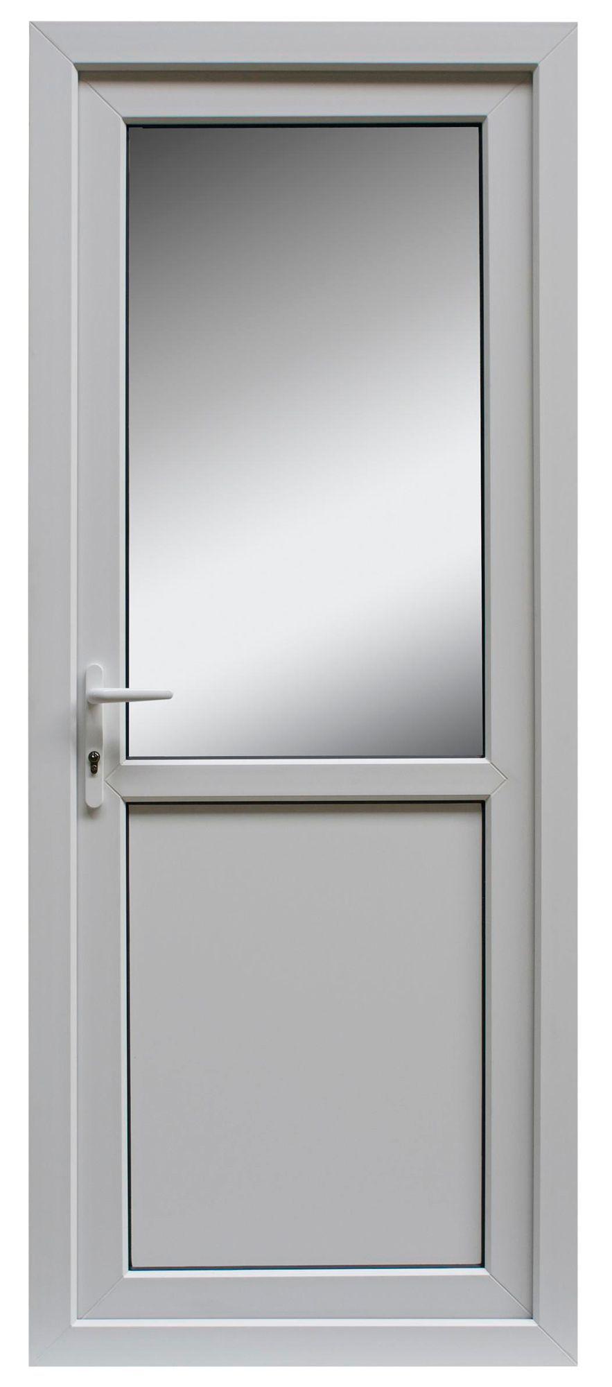 1 Panel Pvcu White Pvcu Glazed Back Door & Frame Rh, (h)2055mm (w)840mm