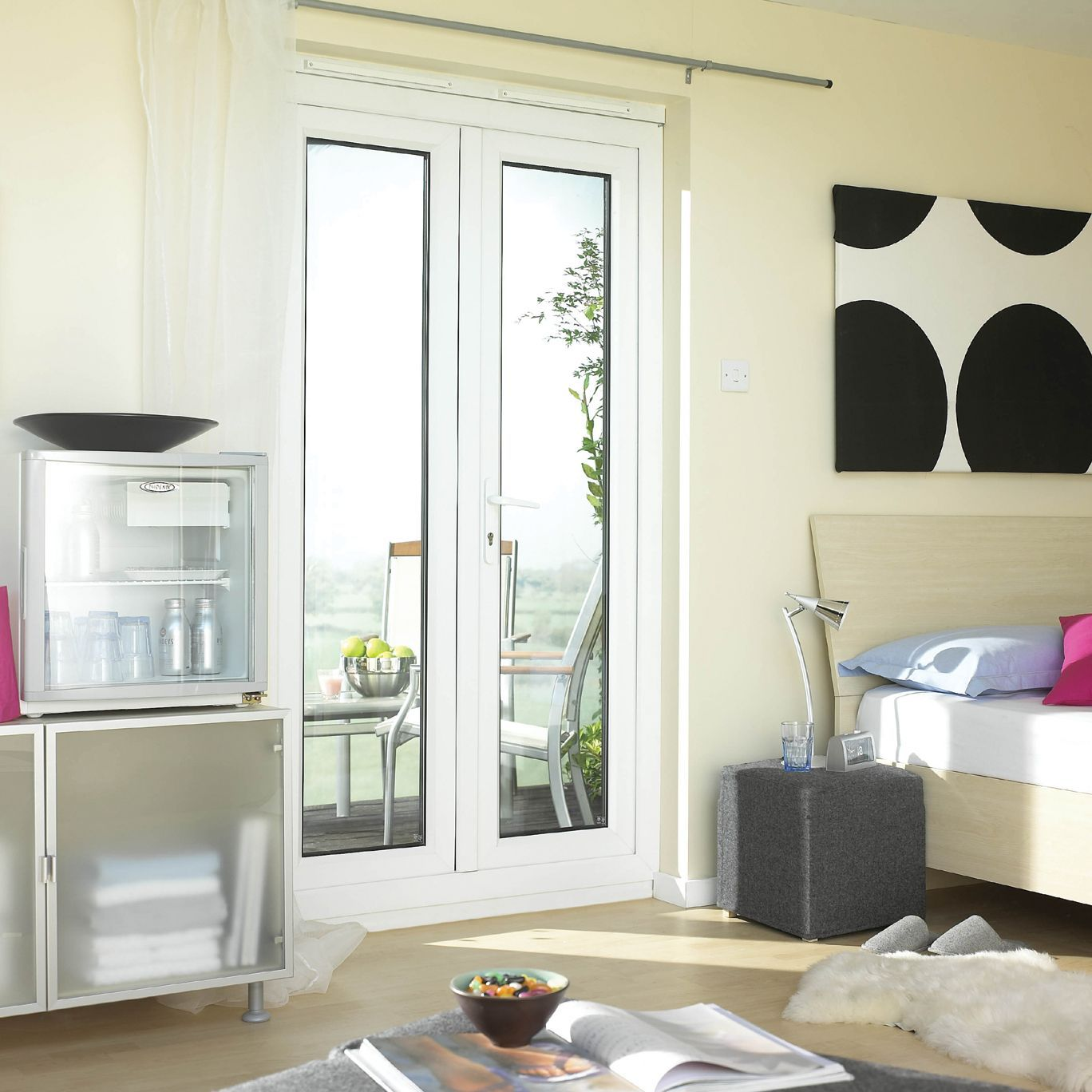 4ft Clear Glazed Pvcu External French Door Set, (h)2055mm (w)1190mm