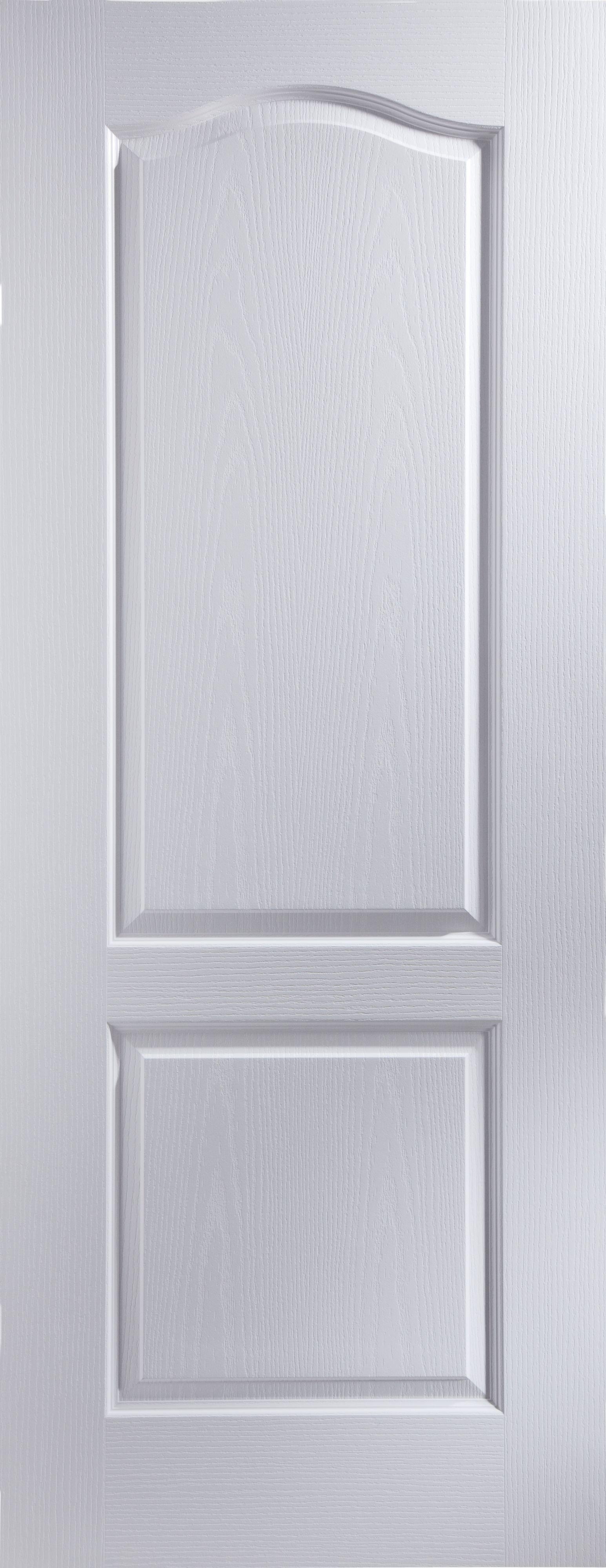 2 Panel Arched Primed Woodgrain Unglazed Internal Standard Door