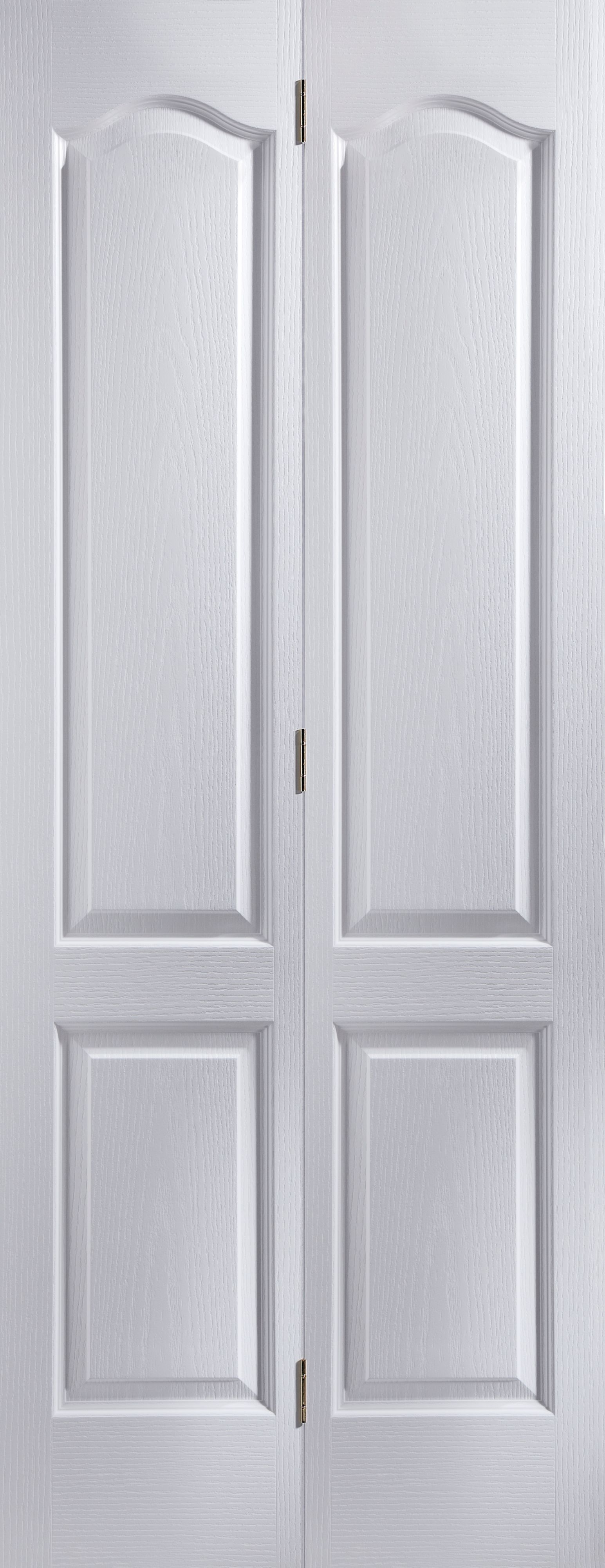 4 Panel Primed Woodgrain Effect Unglazed Internal Bi-fold Door, (h)1950mm (w)750mm