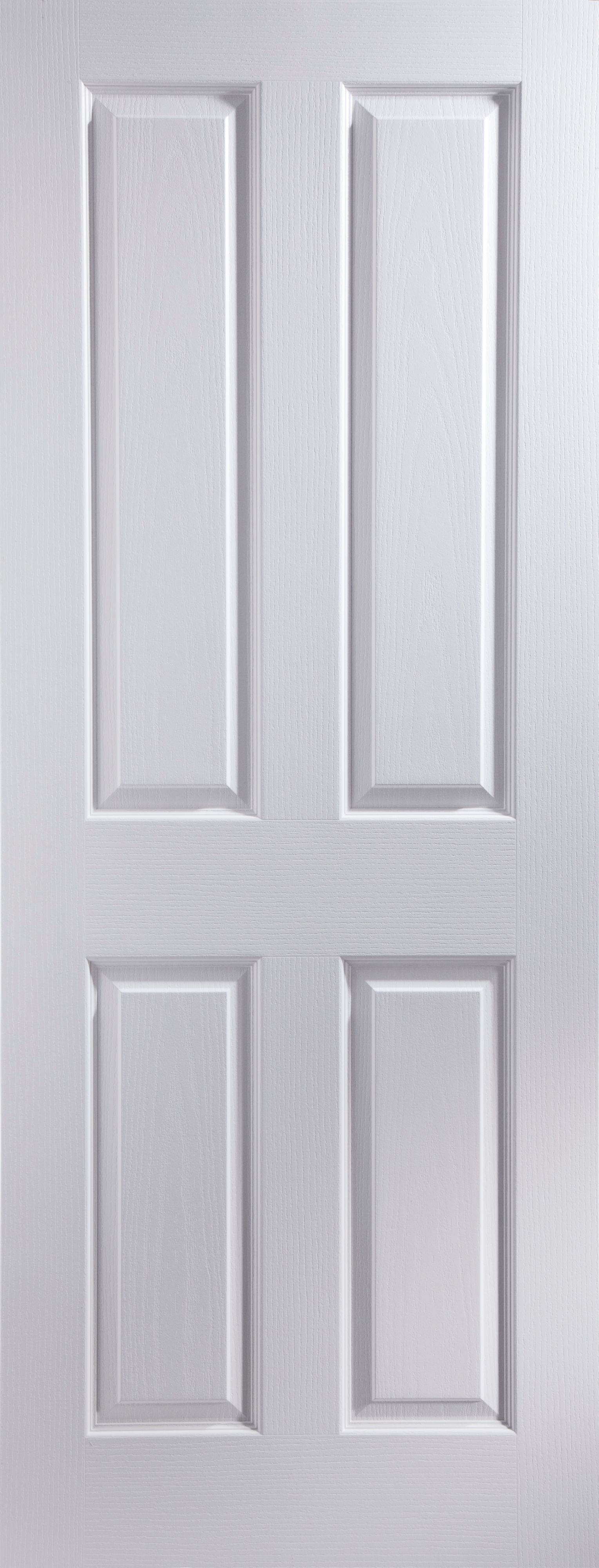 4 panel pre painted white woodgrain unglazed internal for Wood doors painted white