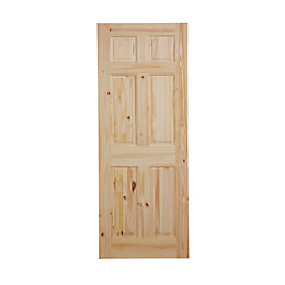 6 Panel Knotty Pine Internal Unglazed Door, (H)2032mm