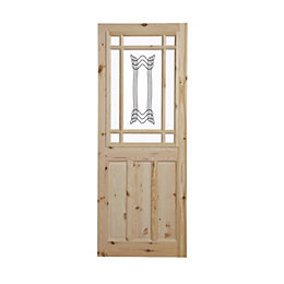 2 Panel Knotty Pine Glazed Internal Door, (H)1981mm