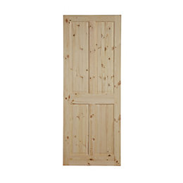 4 Panel Knotty Pine Internal Unglazed Door, (H)2032mm