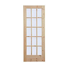 15 Lite Knotty Pine Glazed Internal Door, (H)1981mm