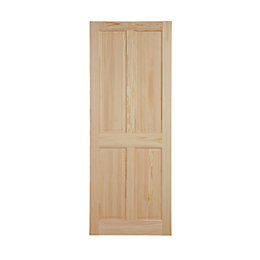 4 Panel Clear Pine Internal Unglazed Door, (H)1981mm