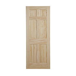 6 Panel Clear Pine Internal Unglazed Door, (H)2032mm