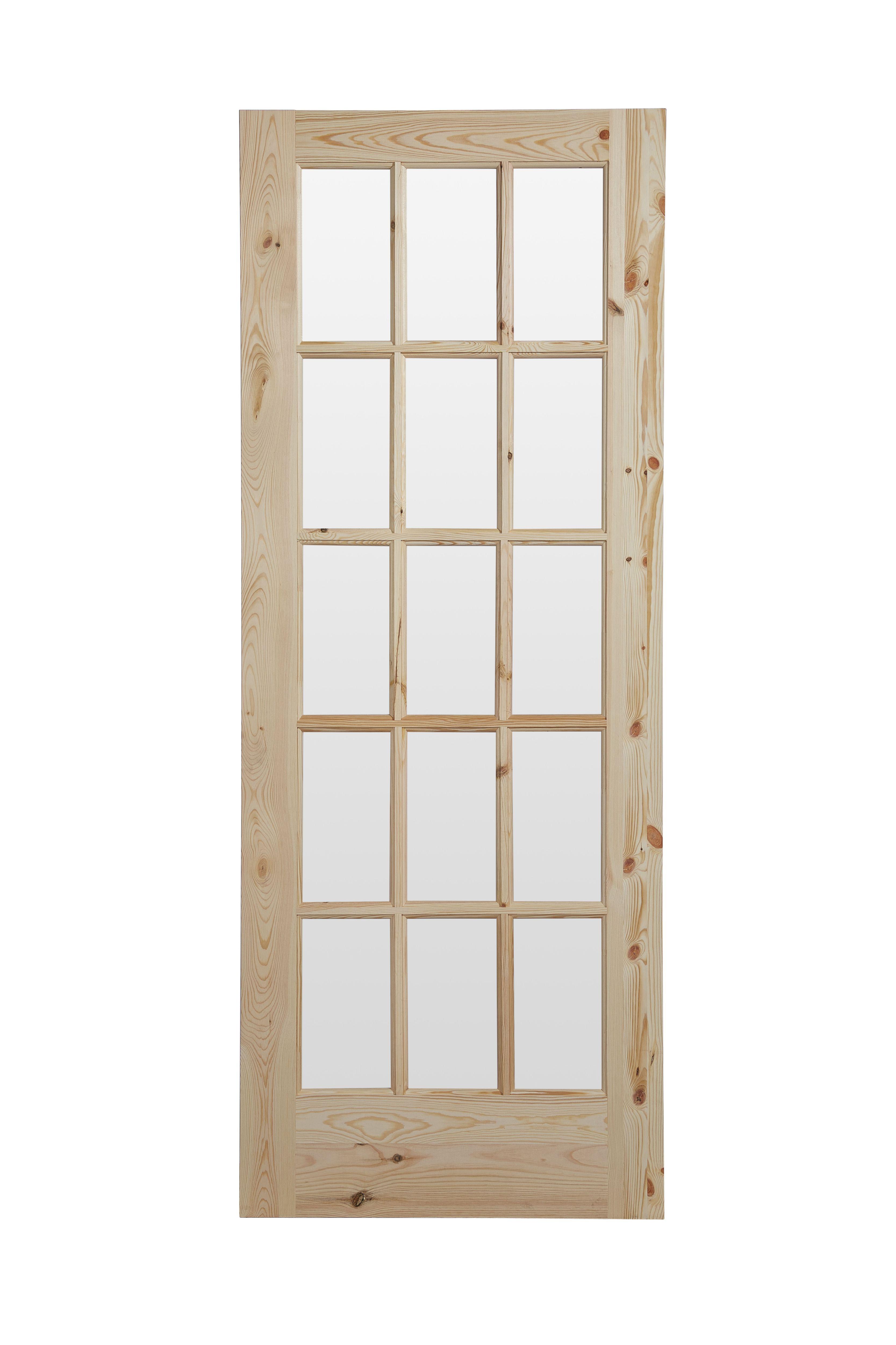 Fully Glazed 15 Lite Knotty Pine Glazed Internal Standard Door H