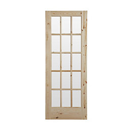 15 Lite Knotty Pine Glazed Internal Door, (H)2032mm
