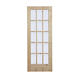 15 Lite Knotty Pine Glazed Internal Door, (H)1981mm