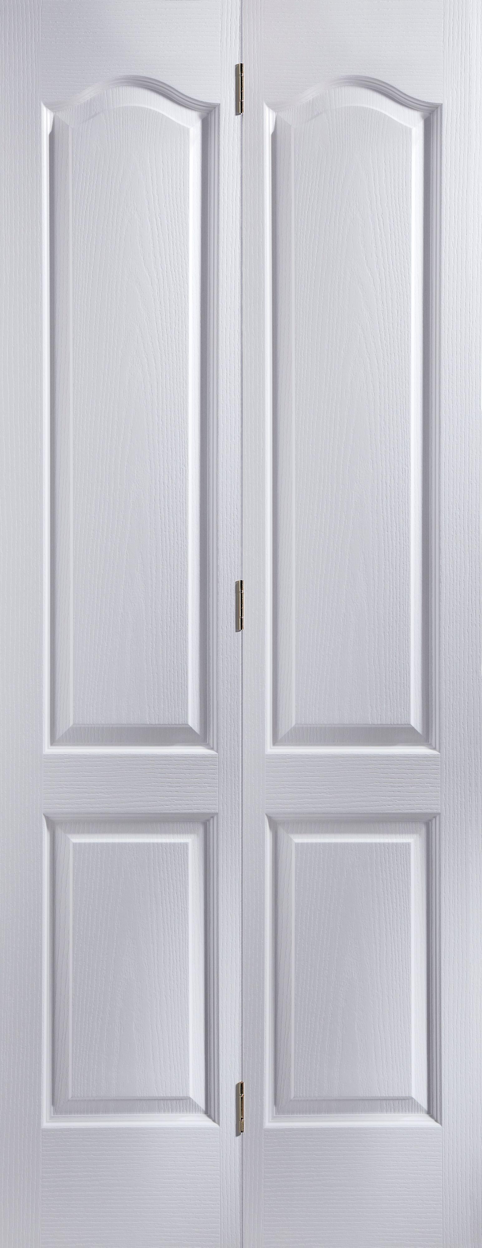 4 Panel Primed Woodgrain Effect Unglazed Internal Bi-fold Door, (h)1950mm (w)595mm