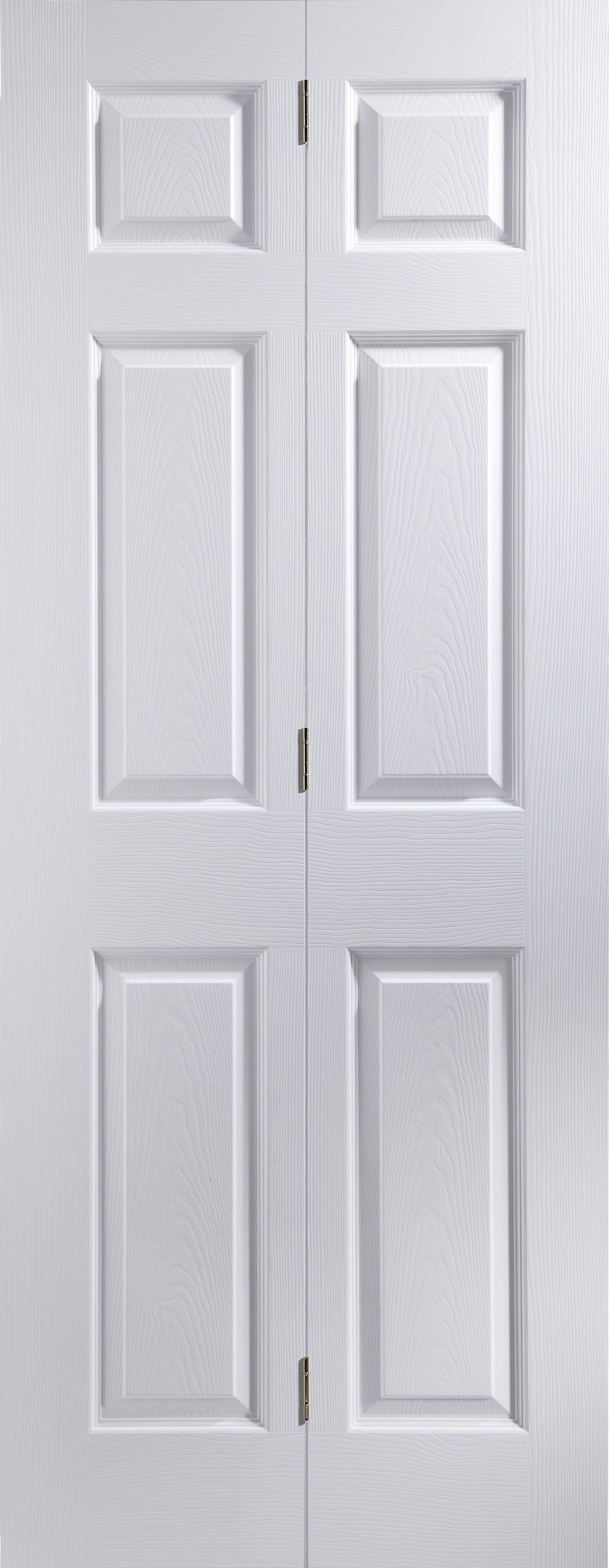 6 Panel Primed Woodgrain Effect Unglazed Internal Bi-fold Door, (h)1950mm (w)595mm